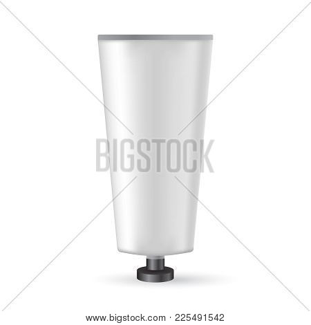 White Plastic Tube With Black Lid For Medicine Or Cosmetics - Cream, Gel, Skin Care, Toothpaste.  Re