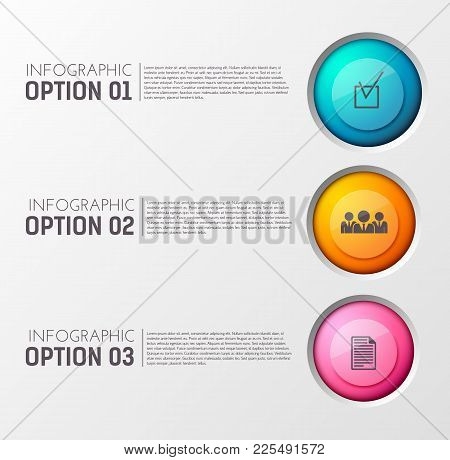Teamwork Concept With Three Options Illustrated With Round Images Of Tridimensional Social Icons And