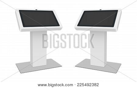 Touch Table With Blank Screen Isolated On White Background. Modern Interactive Kiosk - Half Side Vie