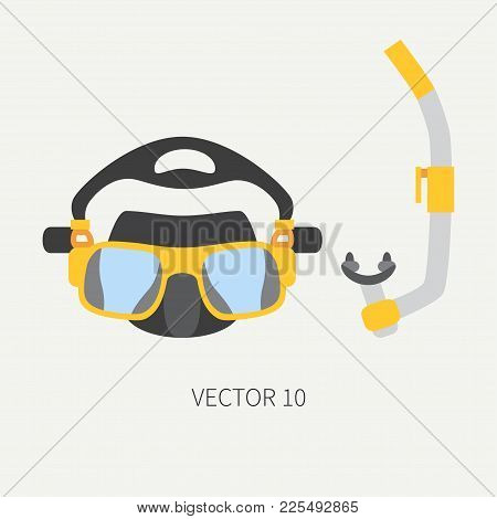 Plain Flat Color Vector Diver Underwater Equipment Icon Diver Mask And Snorkel. Retro Style. Ocean D