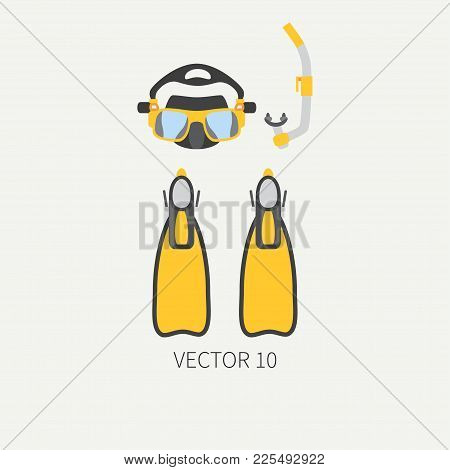 Plain Flat Color Vector Diver Underwater Equipment Icon Diver Mask, Snorkel, Flippers. Retro Style.