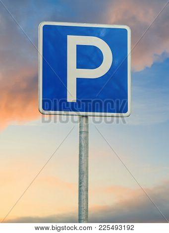 Parking Sign Close Up On Sky Background