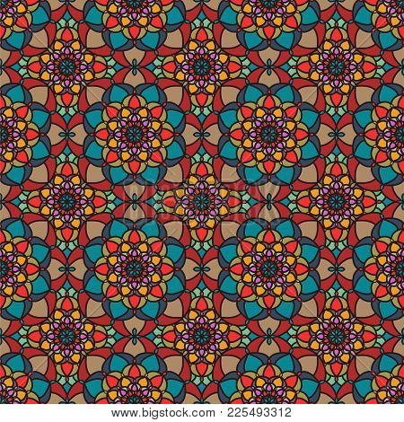 Vector Abstract Seamless Pattern. Vintage Color Geometric East Ornament Pattern. Islamic, Arabic, In