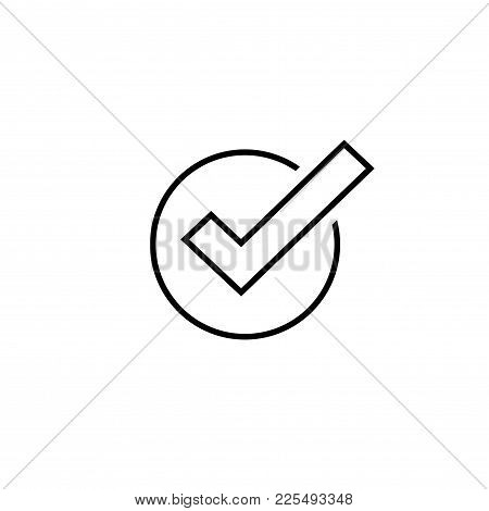 Tick Icon Vector Symbol, Line Art Outline Checkmark Isolated On White Background, Checked Icon Or Co