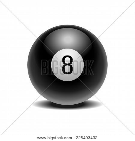 The Magic Ball Of Predictions For Decision-making. Realistic Black Eight Ball Isolated On A White Ba