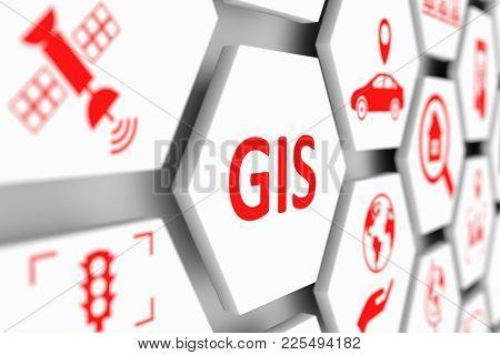 Gis Concept Cell Blurred Background 3d Illustration