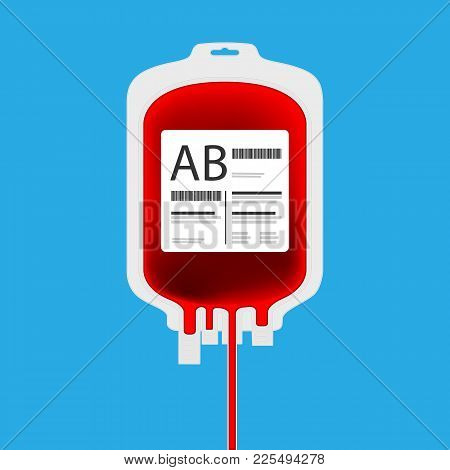 Ab Plastic Blood Bag Isolated With Full Of Blood Inside. Live Giving Or Blood Donation Concept.