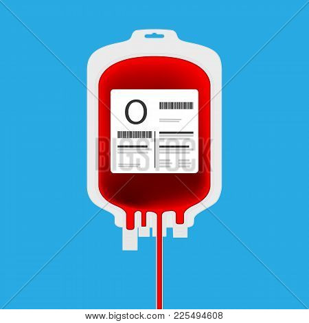 O Plastic Blood Bag Isolated With Full Of Blood Inside. Live Giving Or Blood Donation Concept.