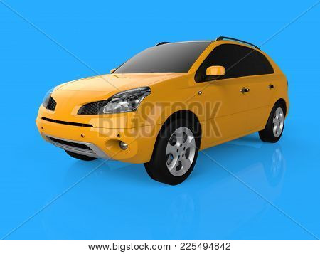 Compact City Crossover Yellow Color On A Blue Background. Left Front View. 3d Rendering