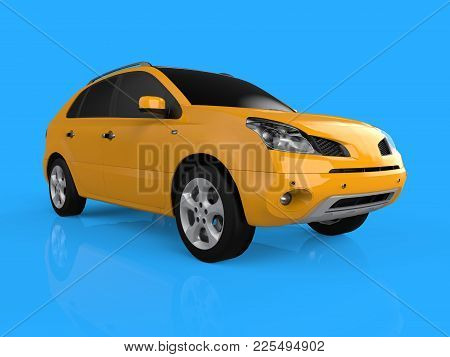Compact City Crossover Crossover Yellow Color On A Blue Background. Right Front View. 3d Rendering