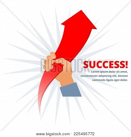 Hand Holds Growing Red Arrow Graph. Business Improving Flat Concept Illustration. Businessman Is Hol