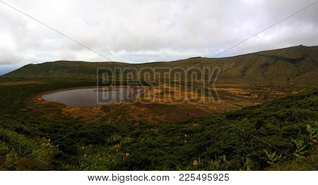 Panoramic View To Caldeira Branca Lake At Flores Island At Azores. Portugal