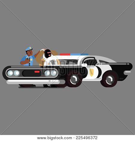 Black Police Officer Apprehend Criminals Near Car
