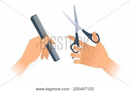 Woman's Hands With Hairstyle Accessories: Comb, Scissors. Flat Vector Illustration.