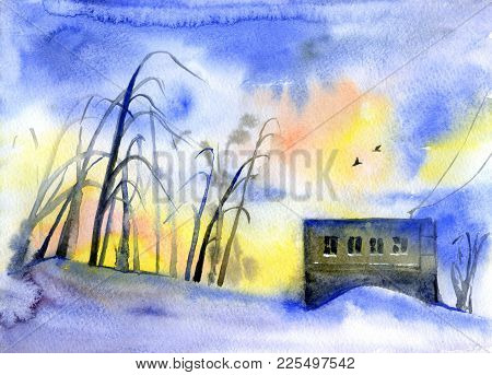Winter Watercolor Sad Landscape, Loneliness And Sadness