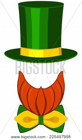 Icon Poster Leprechaun St. Patrick Day Avatar Element Set Tall Hat Glasses Beard, Beaver, Bow Tie. H