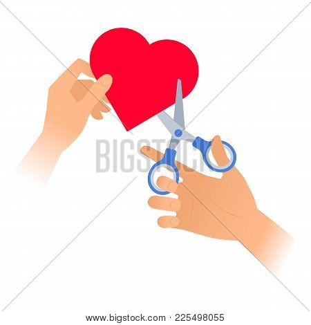 Human Hand Is Using A Pair Of Scissors To Cut Out A Heart From Paper. Flat Vector Illustration Of Re