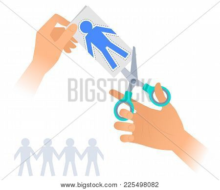 Hand With A Pair Of Scissors Cuts Out Paper People. Flat Illustration Of Steel Office Shears  Cuttin