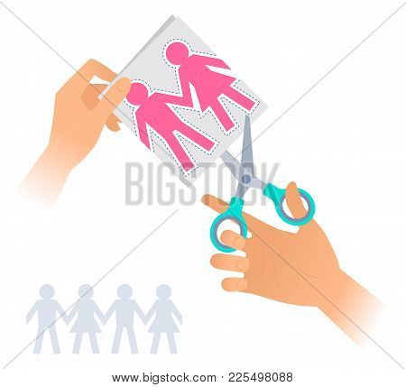 Hand With A Pair Of Scissors Cuts Out Paper Men And Women. Flat Illustration Of Steel Office Shears