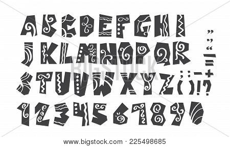 Grunge Full Alphabet And Numerals Vector Illustration. Modern Calligraphy. Isolated On White Backgro