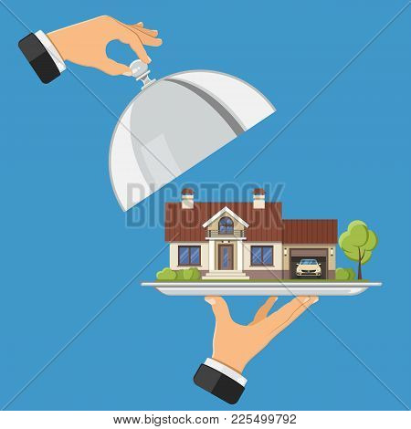 Hand Holds New House On Tray. Other Hand Holds Cover. Flat Style Icons. Sale, Purchase, Lease, Rent