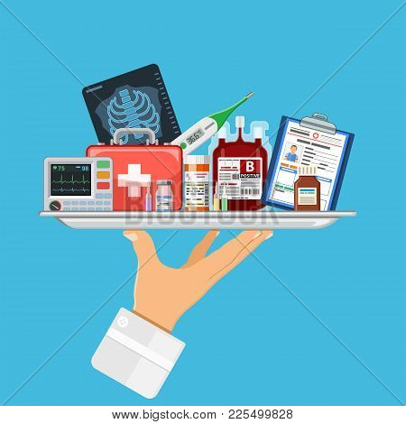 Medical Services Concept With Flat Icons Doctor Hand Holds Tray With Medicaments Like Blood Containe