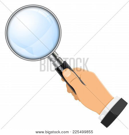 3d Realistic Magnifying Glass Magnifier In Businessman Hand. Isolated Vector Illustration