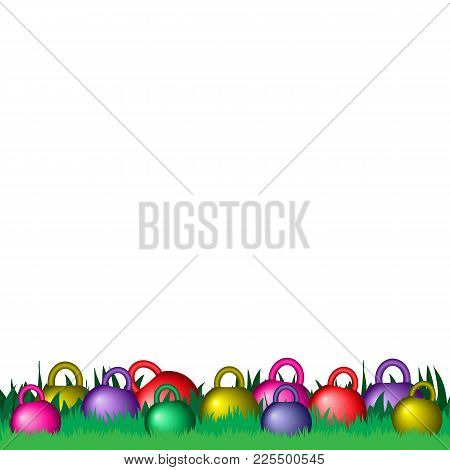 Dyed Easter Kettlebells On The Green Grass Isolated. Easter Greetings Card For The Gym, Fitness Club