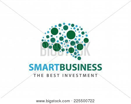 Smart Matrix Dot Brain Advanced Technology Vector Logo Design