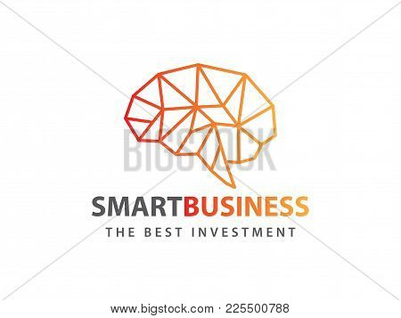 Awesome Line Matrix Smart Brain Orange Red Vector Logo Design