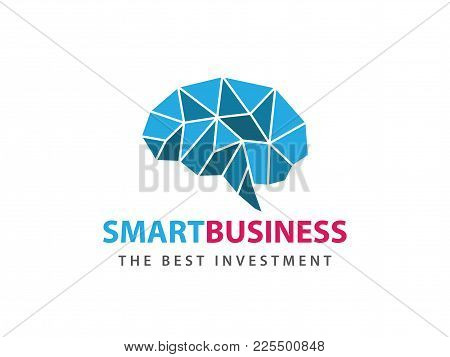 Blue Angular Matrix Smart Brain Vector Logo Design