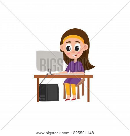 Pretty Teenage Girl Working On Computer Sitting At The Table, Cartoon Vector Illustration Isolated O