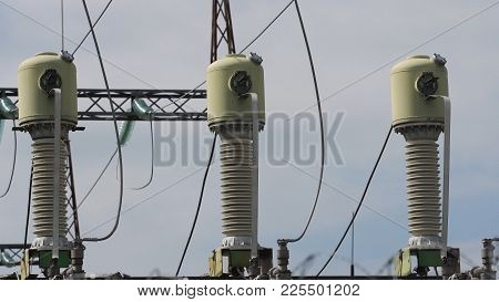 Aerial View Power Plant, Transformation Station, Cables And Wires. Electrical Power Transformer In H