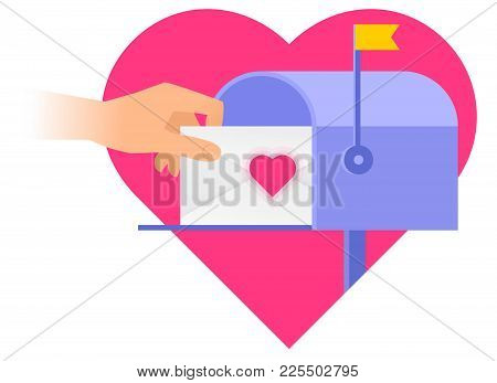 Human Hand Is Taking Out An Envelope From A Mailbox With Heart Sign On The Background. Flat Vector I