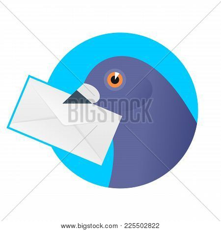 A Post Pigeon With An Envelope In The Beak. Flat Vector Illustration Of A Homing-pigeon Carring Seal