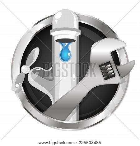 Repair Water Tap And Plumbing Symbol Vector