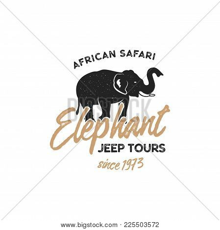 Adventure Logo Design. Jeep Tours Badge Template. Elephant Symbol Included. Vintage Hand Drawn Silho