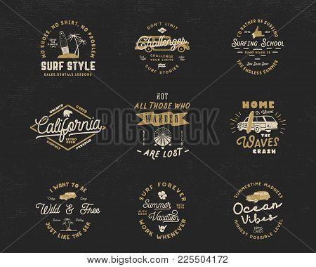 Vintage Surfing Graphics And Emblems Set For Web Design Or Print. Surfer Logo Templates. Surf Badges