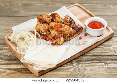 Chicken Wings Grill. Serving On A Wooden Board On A Rustic Table. Barbecue Restaurant Menu, A Series
