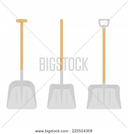 Vector Illustration Of Scoop Shovels Isolated On White Background. Work Tool In Flat Style, For Snow