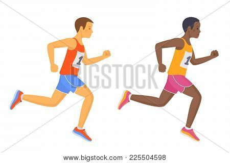 The Running School Boys In The Shirts And Shorts. Active Caucasian And Afro American Teenagers In A