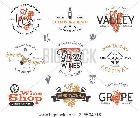 Wine Logos, Labels Set. Winery, Wine Shop, Vineyards Badges Collection. Retro Colors. Typographic Ha