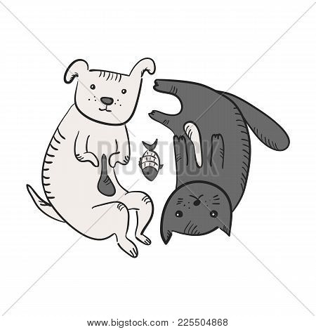 Cute Funny Cartoon Yin And Yang Symbol With Cat, Dog And Fish. Black And White Sketchy Hand Drawn Th