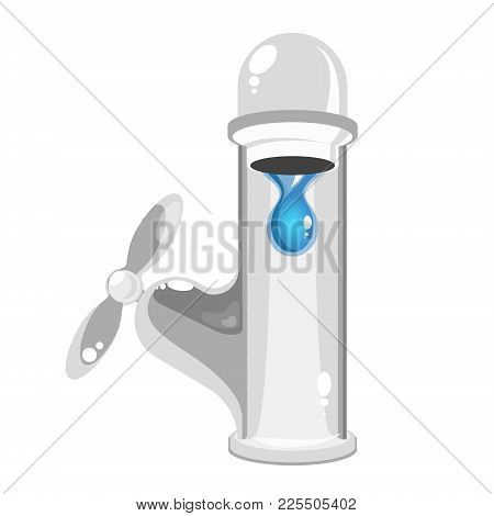 Water Tap Vector With Water Drop Cold
