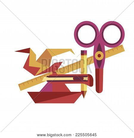 Equipment For Origami Handicrafts Creation As Hobby, Paper Bird And Boat, Sharp Scissors, Long Ruler