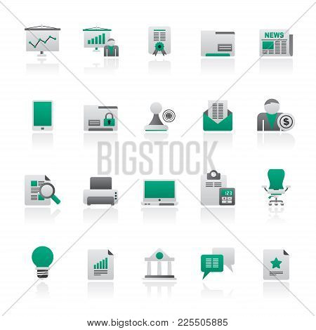 Business And Office Equipment Icons - Vector Icon Set 2