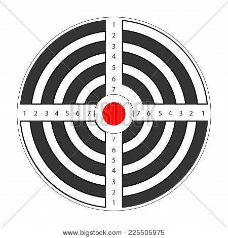Round Target With Red Spot In Middle For Shooting Gallery. Striped Aim With Black Circles And Number