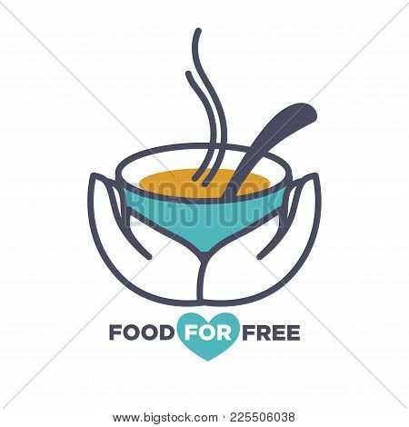 Food For Free Charity Event Announcement Promotional Poster With Hot Bowl Of Tasty Soup With Spoon I