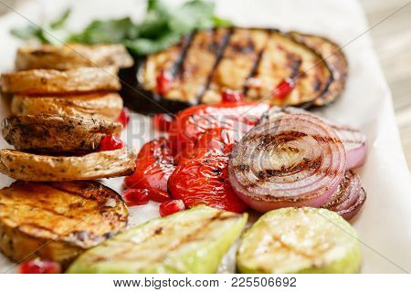 Grilled Vegetables. Serving On A Wooden Board On A Rustic Table. Barbecue Restaurant Menu, A Series