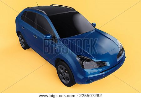 Compact City Crossover Blue Color On A Yellow Background. The View Is On The Right Front And Slightl